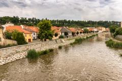 Trebic, Jihlava river and view on Jewish Quartier