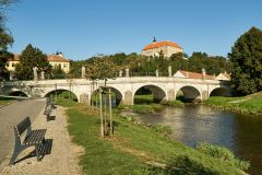 Cycle path by the Oslava River with a view on the castle