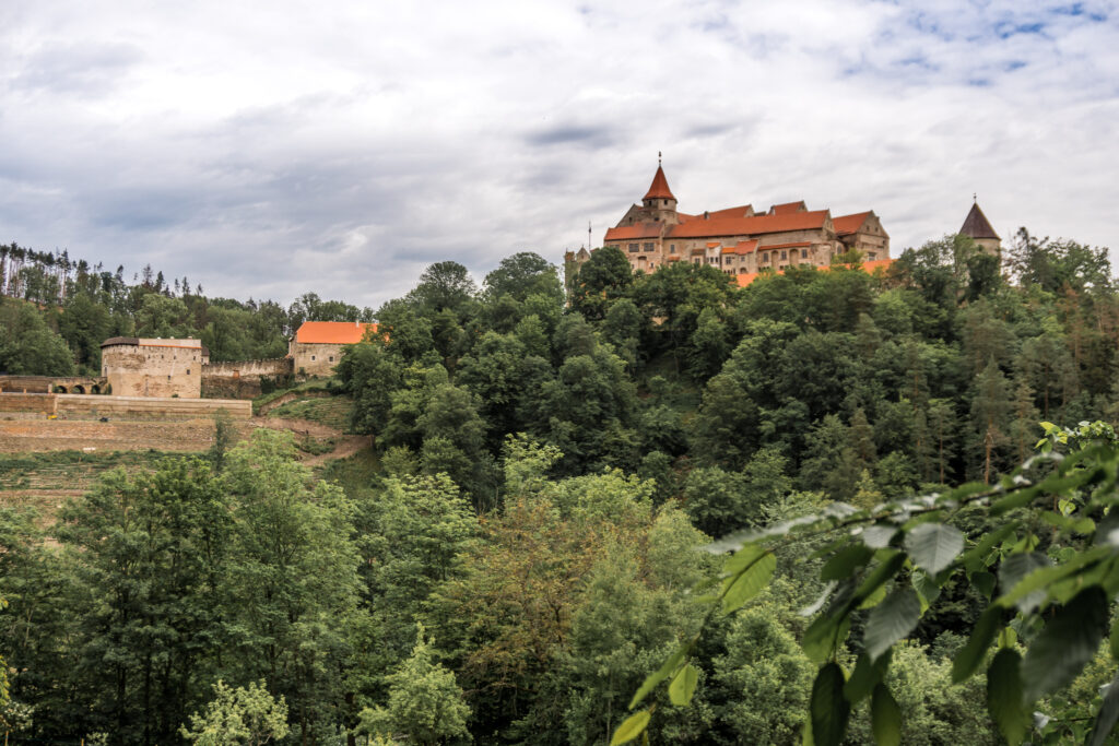 View on the Pernstejn castle from the touristic path: big circle.