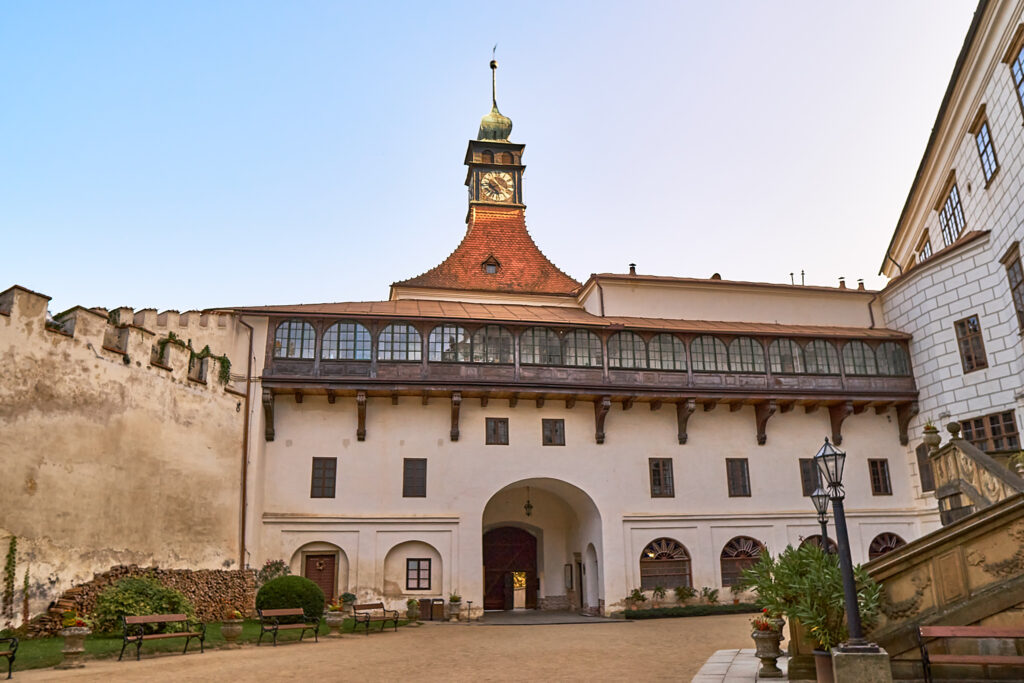 Beautiful main court of the castle Namest nad Oslavou. October 2020