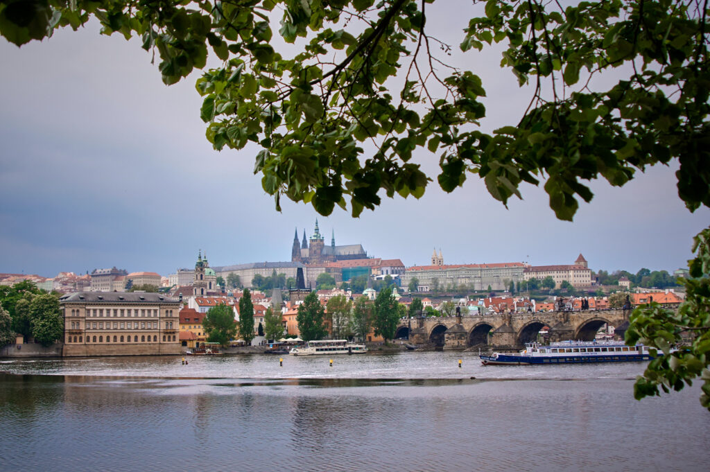 A view of the Charles Bridge and the Prague's Castle